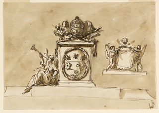 Horizontal rectangle. Upon a broad base rises a pedestal in the center, with the coat of arms of the pope in a wreath at the front. On top the keys and the tiara. At left, upon the base, sits a winged female genius, blowing the trumpet. At right is a sketch: two winged figures standing upon a base support a drapery and the two crossed keys. On top the tiara. Usual background.