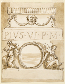 """Vertical rectangle. Below is a plinth. Upon it stands a wreath, supported by two winged women, sitting, with trumpets. For their posture two suggestions are made. Above it is a projecting band with """"PIVS. VI. P. M"""" Above it are moldings and a curved frieze with festoons supported by a mask. Above it is a band with flutes. Usual background."""