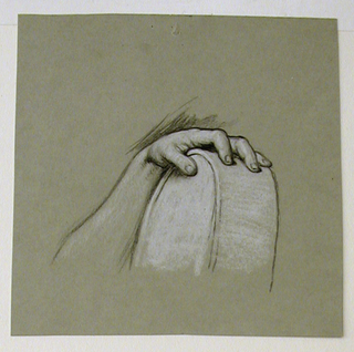 Horizontal rectangle. Study of a hand resting on a circular object.