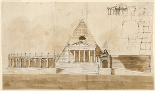 A pyramid with a Doric portico standings upon a high platform. It is flanked, at left, by an ovoidal colonnade, at right by a wall with a doorway. Above, at right: two plans, a section, an elevation of a pyramid. Verso: the right side of an elevation, a variation of -1159. Below, a section similar to -1127.