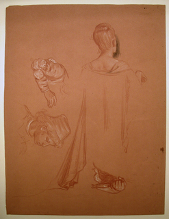 Figure and drapery details: above, left, sleeve and hand; right, head and shoulders of woman seen from the back; below, left, head of a young man; right, drapery, clenched fist.