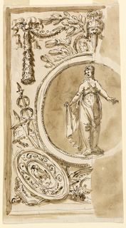 Roundel with a Sybil (?), grotesques for the decoration above the mirror, noble cabinet, Palazzo Altieri.