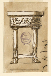 Elevation of a console table supported by two columns with lion feet. A frieze with two birds and rinceaux.