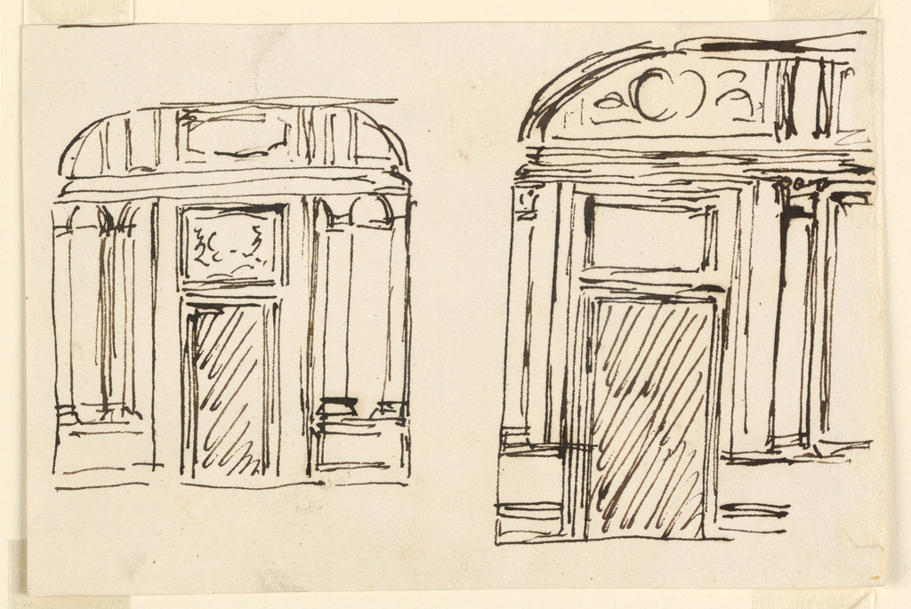 Drawing, Two wall elevations, vestibule