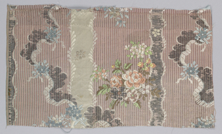Serpentines and floral bouquets on striped background.