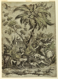 The lion, battling with dogs, is attacked by a man on an unicorn with a bow and by another on foot with a trident. A third hunter blows a trumpet, at left. The clothes of the rider are decorated with stars. Two trees rise in the middle ground. Landscape with buildings displaying crescents.