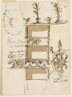 Drawing, Decoration of ceiling and boxes of Ornani Theater, Rome