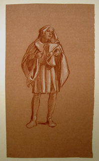 Sketch of a young male figure in costume. He is shown standing, facing the viewer, his head turned slightly to the right with both hands held close to his chest.