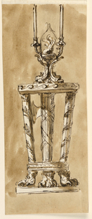 Drawing, Console table with candlestick