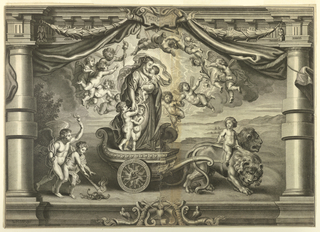 The Virgin and child, accompanied by putti are in a chariot drawn by two lions. Other putti, some flying, accompany them.