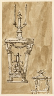 Vertical rectangle. At left, console table supported by two legs, ending in lion feet, legs fluted columns topped with eagles. Candlestick on top of the table consists of a monumental column with a lamp on top, at which two arms are fastened, each with a burning candle. At lower right corner, profile view of a bed standing below a canopy in the shape of a tent. Background colored with brown wash.