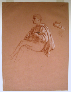 Vertical rectangle. A young man in costume, seated, facing left, his  head shown almost in profile. He plays a mandolin. At right, detail of hand holding the bow of the instrument. Black crayon sketch, reverse, details of figure of girl on reverse.