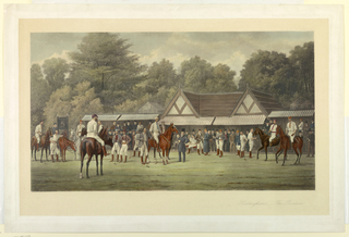 Men in polo clothes on and off horseback, and judges, etc. before a pavilion. Woods beyond. Artist's name, lower left; title, lower right.