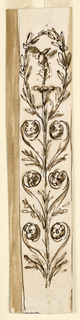 A floral candelabrum with heart-like motifs, formed by scrolls with a blossom at the end, separated by two leaf branches. On top is a blossom with a bird. It is framed by an oval formed by the two uppermost branches.