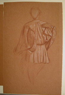 Almost full figure of a young man in costume, standing, turned slightly toward the right, the head looking to the left. Briefly indicated, emphasis on drapery.
