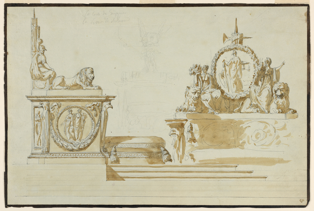 At left: a side view. Standing on a platform. The bottom part is formed like a pedestal, showing a medallion with two female figures, over a festoon; eagles stand at the corners. A panel recedes at left. A lion crouches on top. The top of the rear is to show fasces between two seated figures. At right: an elevation of the back. Women with cornucopias, seated upon crouching lions, are suggested on top of the curved back; they flank a medallion with a figure symbolizing the Republic. Broad dark brown stripes along the edges.