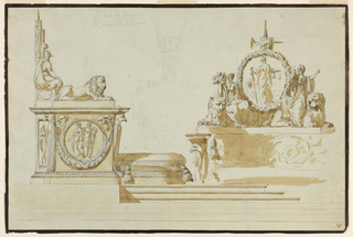 At left: a side view. Standing on a platform. The bottom part is formed like a pedestal, showing a medallion with two female figures, over a festoon; eagles stand at the corners. A panel recedes at left. A lion crouches on top. The top of the rear is to show fasces btween two seated figures. At right: an elevation of the back. Women with cornucopias, seated upon crouching lions, are suggested on top of the curved back; they flank a medallion with a figure symbolizing the Republic. Broad dark brown stripes along the edges.