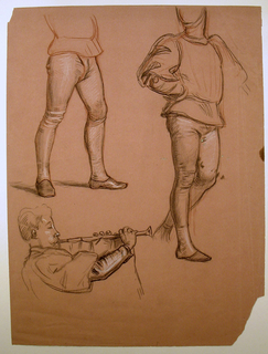 Vertical rectangle. Above: studies of male figures, emphasizing the legs. Below, left: bust-length study of a man blowing a trumpet, facing right in profile.