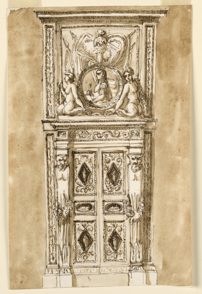 Vertical rectangle. The door has two foldings, either of them with tall rectangular panels above and below, and a small, wide rectangular central panel. The first ones have a lozenge with a standing figure and ornaments for which three different suggestions are made. The central panels frame a wide oval with a figure, recumbent. The entablature of the door frame is supported by two gaines with satyr heads, beside which are two pilasters, back at the wall, panels of which show an upright stem. Similar pilasters support the entablature above, framing the center panel of the overdoor. In front of it is a circular medallion with the bust portrait of a man in antique cuirass; beside it two kneeling mermaids. Above it weapons and colors of a trophy. The wall is colored.