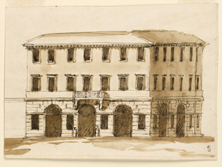 Drawing, Corner view of a town house