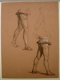Vertical rectangle. Obverse: Three studies of men's legs, in walking posture, wearing tights. Reverse: sketch of man's legs.