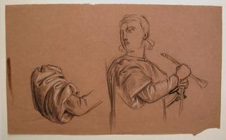 Study of sleeve, left; bust-length figure, emphasizing study of right arm with its sleeve drapery.