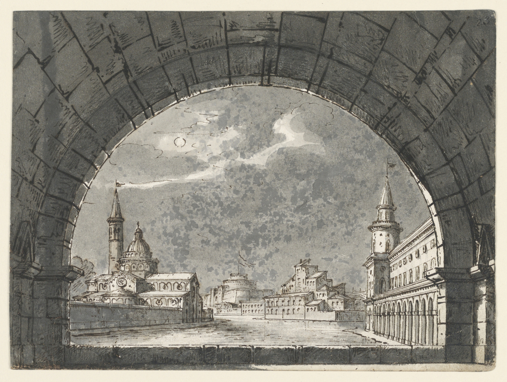 Horizontal rectangle. View through arched window on groups of buildings on the edge of a canal or river.