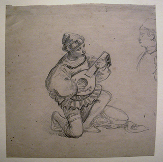 Full-length sketch of a young male figure, his right knee bent, playing the lute. Profile of a boy, partly seen, right.