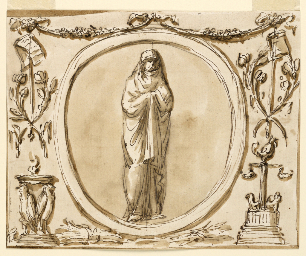 Horizontal rectangle. A variation of 1901-39-1371. Below the medallion are bunches of ears of grain. Below, at right, a lamp. The altar at left is supported by standing birds. (RB '45)  Roundel with a vestal, for decoration over mirror, noble cabinet, Palazzo Altieri. (PDM '91)