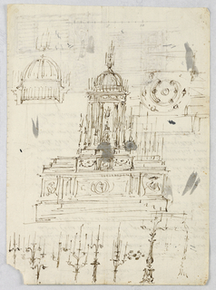 Upon a classical pediment stands a temple-like domed structure. Below a cupola supported by columns and crowned with a trident, is a statue of a deity. Surrounding this sketch are studies for the separate elements of the altar: the cupola, the supporting columns, and the candelabra-shaped pinnacle.