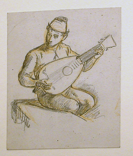 Young male figure seated on a bench, turned slightly to the right, playing a lute.