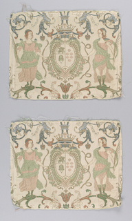 Two identical fragments, each containing a heraldic shield surmounted by a crown and flanked by female figures on branches. Grotesques flank the crown.