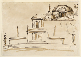 Drawing, Fountain and a mausoleum