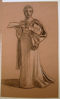 Sketch of a female figure in costume holding a sheet of paper in her hand.