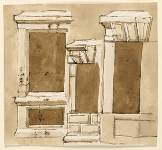 Drawing, Three window frames