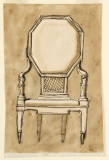 Frontal view of a chair with a large octagonal back, sloping arms terminating in acanthus leaves where the hands would rest, tapered geometric legs, and caning connecting the back to the seat.