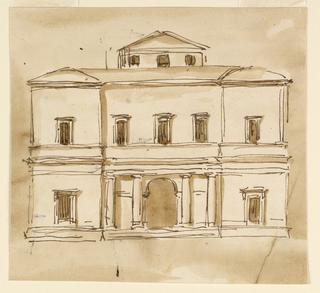 Drawing, Elevation of a villa