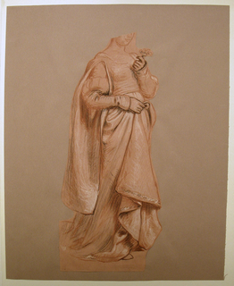 Vertical rectangle. Full-length figure of a woman in costume, standing, turned toward the right. She holds a flower in her hand; the drapery of her gown with the other hand. Part of the head is torn away, and the drawing is cut along the outline of the figures.