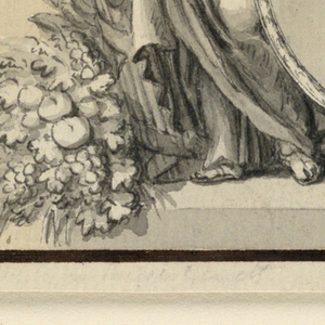 Horizontal rectangle. A female genius with fasces and trumpet stands upon a dado beside a medallion portrait of a sovereign woman, probably Queen Mary I of Portugal (born 1734, queen 1777, insane 1786, died 1816). It is framed at right by a laurel branch and coins falling from cornucopia. Colored background. Dark brown framing line.