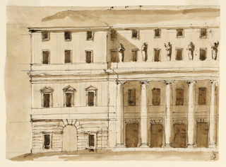 Drawing, Left half of elevation of a town mansion