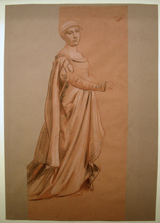 Full-length sketch of a female figure in costume, standing, turned toward the right. Her right hand is extended before her. At left, the drawing is cut along the outline of the figure.