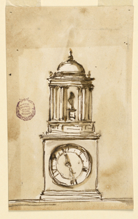 The overall shape of the clock mimics that of a Greek temple. The dial plate is at the bottom, as a pedestal supporting a circular temple-like structure consisting of a dado and pairs of Doric columns below an entablature and a dome, with a statue standing in the center.