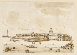 Drawing, Square with a Palace