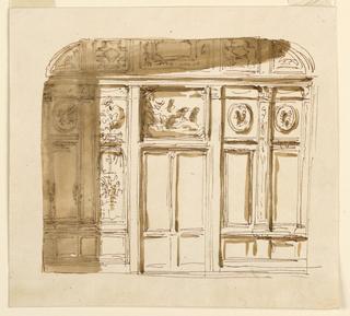 Drawing, Door wall of a room