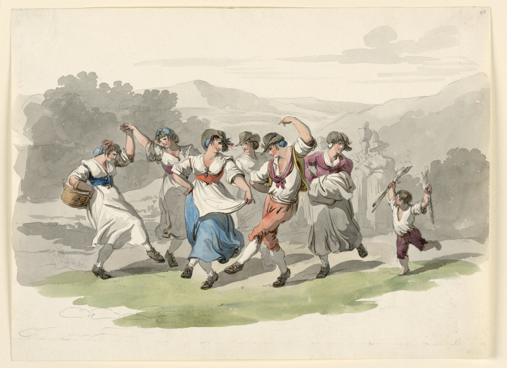 """Five """"Mozzatore,"""" a young man and a boy dance. The pose of the main girl is a variation of that, plate 4, loc. cit. A group of girls in the central distance. Mountainous landscape."""
