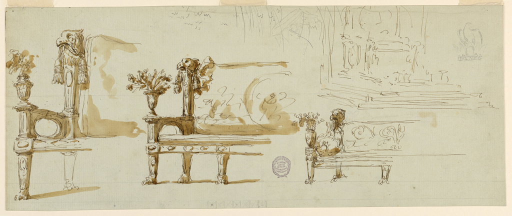 Designs for the left hand side of a bench. Paw feet. Arms decorated with a floral vase. At back, an eagle head with a tassel in its beak.