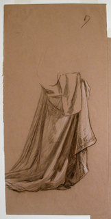 Vertical rectangle. Obverse: Full-length figure of a young woman in costume, standing, turned toward the right. She holds a flower in her hand.   Reverse: study of drapery.