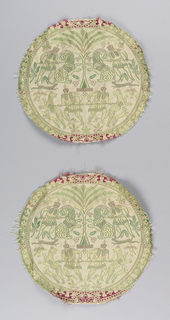 Two identical roundels with a design of hunters attacking lions and leopards; inspired by Sassanian textile designs.