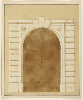 A panel with molded arch projects slightly from rustic pilaster strips for which two alternative (?) designs are shown. Three keystones. Measurements indicated. Colored background, bordered by an ink line. Paper margins.