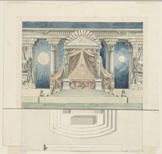 Horizontal rectangle. Above, altar in Egyptian temple with emblems of Freemasonry, sculptures, drapery, sun and moon in background. Possible decoration for Masonic temple. Below, plan view of altar.